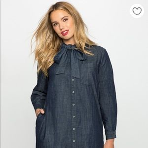 Eloquii | Tie Neck Easy Chambray Shirt Dress Sz 20